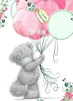 Tatty Teddy Holding Balloons Birthday Me to You Bear Card Happy Birthday Love Quotes, Happy Birthday Greetings Friends, Happy Birthday Art, Birthday Wishes Messages, Happy Birthday Pictures, Birthday Cards, Tatty Teddy, Watercolor Card, Teddy Bear Drawing