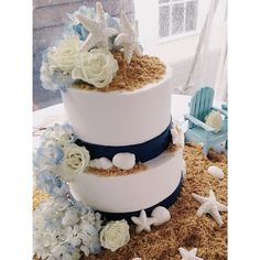 Nautical Wedding Cake. White and Navy. Shells and Sand. Hydrangea Wedding. Beach Wedding. Narragansett. #VillageIndulgence @Kerricupcake on Instagram