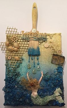 Imagine the Inky Depths — Art: It's What's For Dinner Mixed Media Collage, Mixed Media Canvas, Collage Art, Seashell Crafts, Beach Crafts, Altered Canvas, Altered Art, Photo Halloween, Paint Brush Art