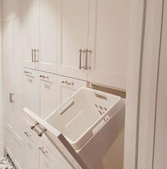 Why have one laundry basket when you can have more than one? Fresh ideas from Wilson & Bradley Laundry Cabinets, Laundry Storage, Cabinet Makers, Laundry Basket, Bathtub, Bathroom, Fresh, Home, Ideas