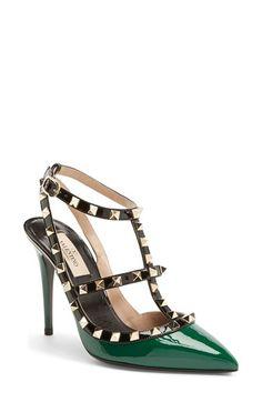Green studded high heels