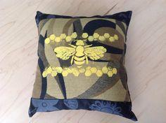 Yellow Bee Screenprint  on Brown and Black Mini Decorative