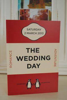 Adorable penguin classic wedding invitations, by MartyMcColgan on Etsy.