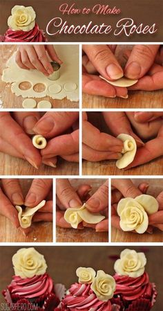 Cupcakes How to make Chocolate Roses. This would be perfect for almost any special occasion.How to make Chocolate Roses. This would be perfect for almost any special occasion. Cake Decorating Techniques, Cake Decorating Tips, Cookie Decorating, Rose Cupcake, Cupcake Cakes, 3d Cakes, Fondant Cakes, Fruit Cakes, Baking Cupcakes