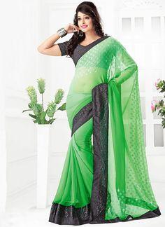 Presentable Green Chiffon Saree