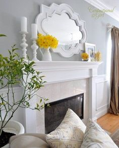 yes love the mirror for guest bedroom...love the yellow pops of color and the subdued gray walls around a gorgeous clean mantel