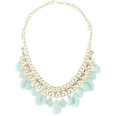 Charlotte Russe Dangling Faceted Stones Bib Neckalce (10 BAM) ❤ liked on Polyvore featuring jewelry, necklaces, mint, charlotte russe, bib jewelry, charlotte russe necklaces, mint green jewelry and mint green necklace