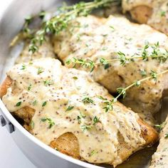 This quick & easy pan seared chicken breast recipe with mustard cream sauce takes just 15 minutes! It's the perfect healthy, flavorful weeknight dinner. It's low carb and gluten-free, too! Steak Recipes, Healthy Chicken Recipes, Sauce Recipes, Low Carb Recipes, Mustard Cream Sauce, Honey Mustard, Pan Seared Chicken, Breast Recipe, Dinner Recipes