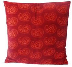 "16"" Cotton cushion cover pillow case paisley red orange square decorative throw #Handmade"