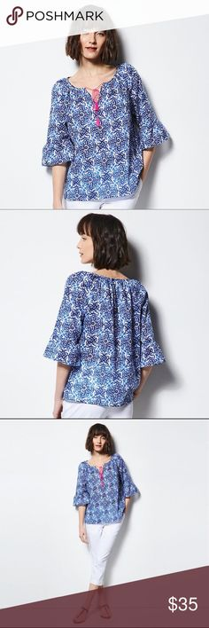 "MILLY for DesigNation Tile Peasant Blouse Top Enjoy the iconic island style of this women's MILLY for DesigNation peasant top. In blue/white.  PRODUCT FEATURES Shirred tie-front neckline with tassel accents Splitneck Ruffled 3/4-length sleeves Lightweight cotton construction FABRIC & CARE Cotton Machine wash  *Chest: (M 44""), (L 46"")  CLOSET RULES: Bundle Discounts * No Trades * Smoke free Milly Tops Blouses"