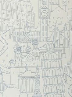 DecoratorsBest - Detail1 - CC W0015/03 - Globetrotter - Blue - Wallpaper - Fabrics - DecoratorsBest