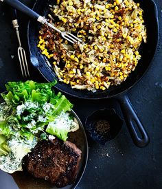 Southern-style flat-iron with potato and corn hash and baby cos with buttermilk dressing recipe | Steak recipe :: Gourmet Traveller