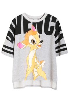 Deer & Letter Print Grey T-shirt It's Bambi! :) #Disney #Bambi #Style
