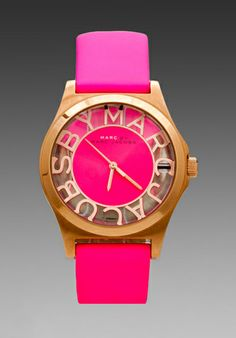 Marc by Marc Jacobs Henry Skeleton Watch in Knockout Pink/Rosegold