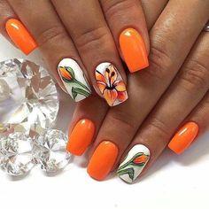 Pin on Amazing jewelry Pin on Amazing jewelry Tulip Nails, Lily Nails, Rose Nails, Orange Nail Designs, Acrylic Nail Designs, Nail Art Designs, Acrylic Nails, Fancy Nails, Pretty Nails