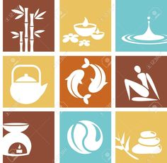 Illustration of Zen and spa icons and logos vector art, clipart and stock vectors.