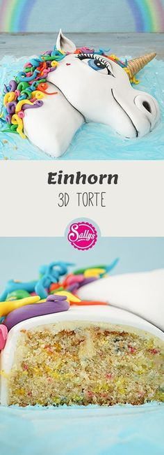 Diese Einhorn 3D Regenbogen Motivtorte ist definitiv ein Hingucker und schmeckt auch super lecker!