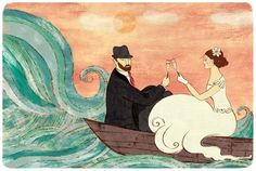 "Etsy.  In This Boat Together.  Even when the waves in life seem big you have each other to hold down the ship!    Print of an original illustration. Each print is signed, dated and shipped in a protective plastic sleeve with an archival, recycled backing. It is mailed in a sturdy, non-bendable mailer.    The paper measures 8x10"" and the image size measures 6x9"" including a white border for framing.  By: weathergirlshop"