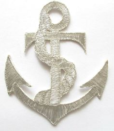 """Amazon.com: [Single Count] Custom and Unique (3 5/8"""" by 4 1/2"""" Inches) Nautical Marine Large Anchor Wrapped In Rope Iron On Embroidered Applique Patch {Silver}"""