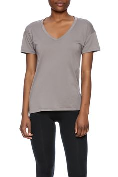 Organic v-neck top in a nickel grey color.    Nickel V-Neck Top by Alternative Apparel. Clothing - Tops - Tees & Tanks Clothing - Tops - Short Sleeve Austin, Texas
