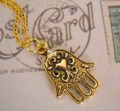 Golden Heart Hamsa Hand Charm Necklace by lucindascharms on Etsy, $10.00