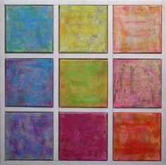 Marcin Penconek, Self-Assembly: 9! (version A), 9 pieces, 20 x 20 cm each, oil on canvas, 2010