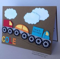 Ginger Toivonen: Ginger Stamps - A Birthday Card for a Five Year Old! 4 Year Old Boy Birthday, Birthday Cards For Boys, Birthday Kids, Boy Cards, Kids Cards, Happy Birthday Cards Handmade, Transportation Birthday, Handmade Invitations, Scrapbooking