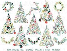 Cute and unique!  Check out Floral Christmas Trees & Bunting by PinkPueblo on Creative Market