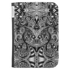 Kindle Case Floral abstract background #zazzle #kindlecase #floral #abstract #black #white