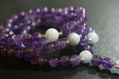 108 ct. 8mm Amethyst Mala with Aquamarine by LobsterIslandBeadery
