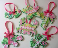10 Lilly Pulitzer Ornaments by alphabulous on Etsy, $45.00