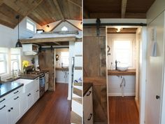 A 204-square-feet farmhouse with a loft bedroom, a full kitchen with appliances, living room and bathroom.
