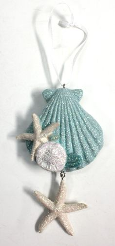 Scallop, Starfish Sanddollar Resin Glittered Christmas Ornament - Easily add some accents to your Christmas tree or buy to put on gifts as package toppers! Beach Christmas Ornaments, Seashell Ornaments, Nautical Christmas, Christmas Crafts, Christmas Decorations, Shell Decorations, Cottage Christmas, Christmas Wood, Snowman Ornaments