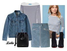Striped Wool Pullover by lellelelle on Polyvore featuring The Lady & The Sailor, M.i.h Jeans, A.P.C., mbyM, Christian Louboutin and Mansur Gavriel