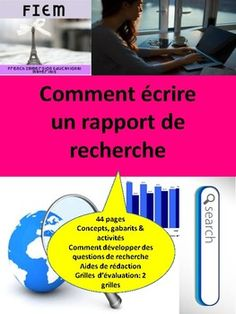 "Boost your students' writing skills! and teach them how to write ""Un rapport de recherche""! Ready to print and USE as a TEACHING Evaluation, French Immersion, Questions, Writing Skills, Rubrics, Have Time, Assessment, The Unit, Teaching"