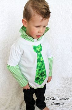 NEW Luck of the Irish St. Patrick's Day 2014 Tie Tee T-Shirt. Any St. Patty Day Tie Fabric with Any Name or Wording. by ChicCoutureBoutique, $24.50 For Xavier