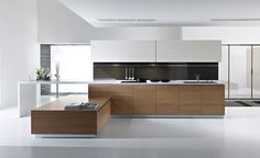 Pedini DC Modern Italian Kitchens Dune 2 kitchen in stained walnut and cream high gloss lacquer