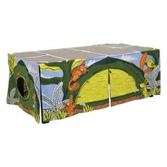 A unique, space saving tent solution for fun inside the home utilising a rectangular table. Simple set-up instructions and carry bag provided. Choose from camping table tent and/or cottage table tent. Illustrated by Australian designer, Binny.   Age 3+.
