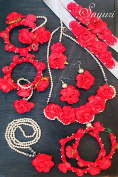 Bridal jewellery with paper roses