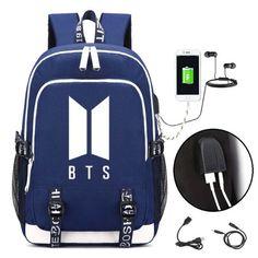 31dd2bd7 2018 New BTS Bangtan Boys Printing Backpack Canvas School Bags for Teenage  Girls Usb Charging Laptop Backpack Unisex Travel Bag