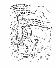 nursery rhyme coloring page where go the boats