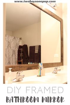 DIY Framed bathroom mirror! If you're looking for a way to renovate to your bathroom and upgrade your builder-grade bathroom mirror, then look no further! This DIY bathroom mirror cost less than $30 for ALL 3 bathrooms! Check it out! | DIY | Bathroom renoviation | Fixer upper | bathroom reno | bathroom remodel | cheap mirror | builder's grade mirror | do it yourself | bathroom mirror upgrade | home renovation | home remodel | craft ideas | Framed mirror | painted cabinets | homeowner…