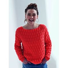 Mon pull relief orange au tricot - Knitting And Crocheting Knitting Stitches, Free Knitting, Knitting Patterns, Drops Design, Crochet Designs, Crochet Clothes, Knitwear, Knit Crochet, Crochet Pattern