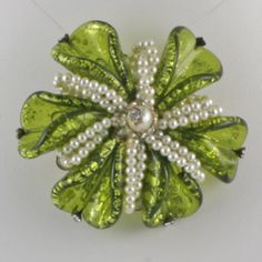 Hobe faux pearl and glass brooch
