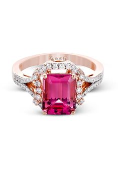 A rose and white gold engagement ring with round white diamonds and a pink tourmaline center stone