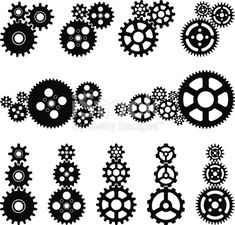 Gears black and white set