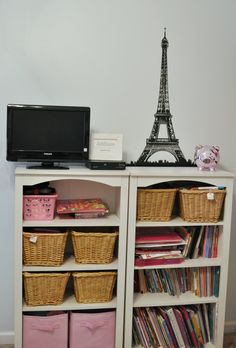 Baskets and shelves for her space