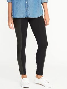Faux-Leather-Panel Leggings for Women