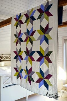Colourful star quilt Quilts, Blanket, Contemporary, Rugs, Artist, Blog, Star, Home Decor, Scrappy Quilts
