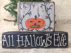 Primitive Country Pumpkin All Hallow's Eve Halloween Shelf Sitter Wood Block Set #PrimtiveCountry
